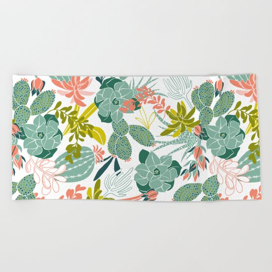 Succulent Garden White Beach Towel