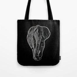 White Neon Elephant Tote Bag