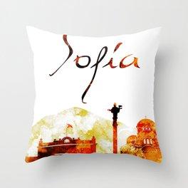 Sofia Bulgaria Red Yellow Skyline Throw Pillow