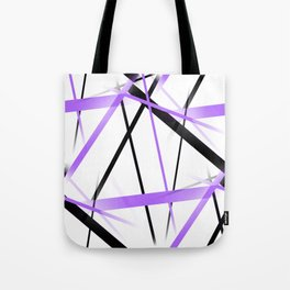 Criss Crossed Lilac and Black Stripes on White Tote Bag