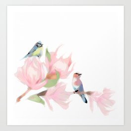 Garden Flowers Birds Painting 04 Art Print