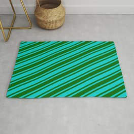 Dark Turquoise and Dark Green Colored Lined Pattern Rug