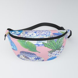 Chinoiserie Chic, Chinese ginger jars on pale pink Fanny Pack