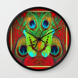 BEAUTIFUL GREEN BUTTERFLY & PEACOCK FEATHERS RED ART Wall Clock
