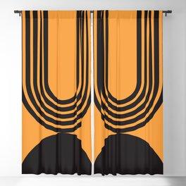 Black Geometric Arches - Mid century modern, mid century wall art, mid century art, mid century prin Blackout Curtain