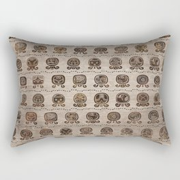 Maya Calendar Glyphs pattern wooden texture Rectangular Pillow