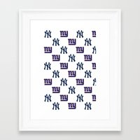 yankees Framed Art Prints featuring NY Yankees and Giants  by Shaina