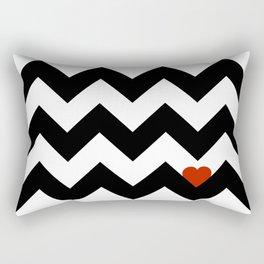 Heart & Chevron - Black/Classic Red Rectangular Pillow