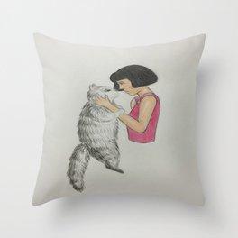 I love you cat Throw Pillow