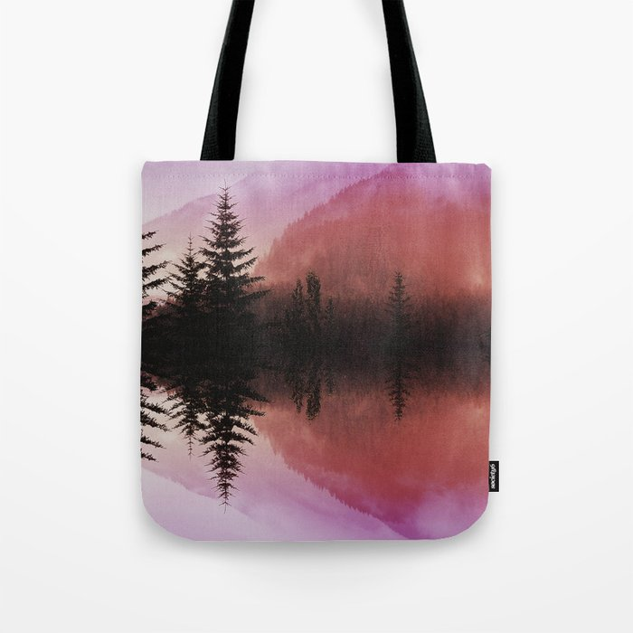 Sunset forest reflections Tote Bag