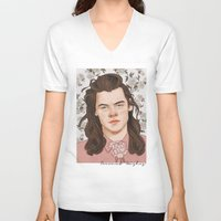 coconutwishes V-neck T-shirts featuring H Pink by Coconut Wishes