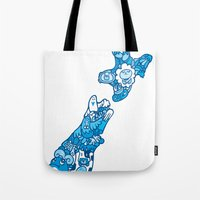 new zealand Tote Bags featuring NEW ZEAlAND  by Jun Arita