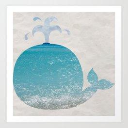 beach whale Art Print