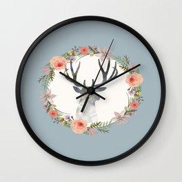 Deer and Wreath Print Wall Clock