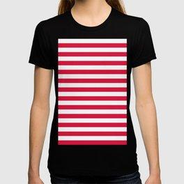 Narrow Horizontal Stripes - White and Crimson Red T-shirt