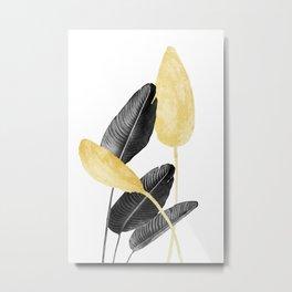 Bird of Paradise Plant Black, White and Gold 02 Metal Print