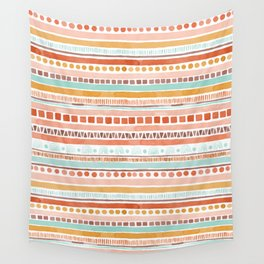 Boho Stripes - Watercolour pattern in rusts, turquoise & mustard. Nursery print Wall Tapestry