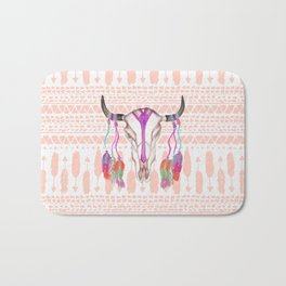 Watercolor Bull Skull Feathers and Arrow Aztec Bath Mat