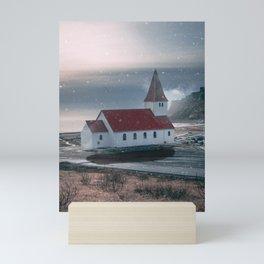 Floating Building in Vik Iceland-Surreal Church Mini Art Print