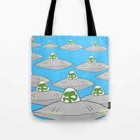 aliens Tote Bags featuring Aliens by David Abse