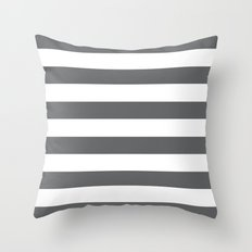 Simply Striped in Storm Gray and White Throw Pillow