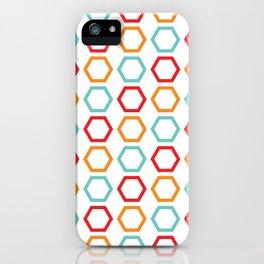 Red, Orange, & Blue Hexagons on White iPhone Case