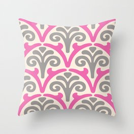 Floral Scallop Pattern Pink and Gray 2 Throw Pillow