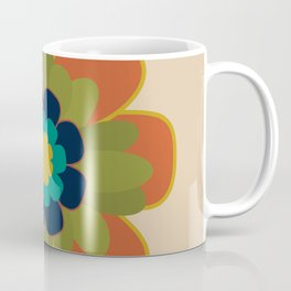 Morelia 2 Flower Single - Retro Floral in Orange, Navy, Olive, Teal and Mustard on Mid Mod Beige Coffee Mug