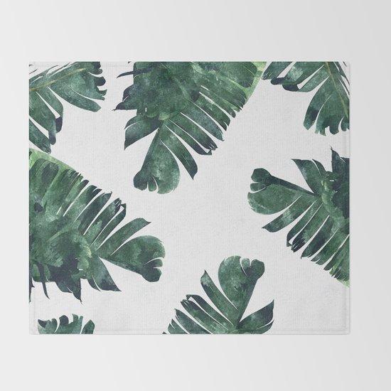 Banana Leaf Watercolor Pattern #society6 Throw Blanket