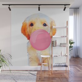 Cute golden retriever with chewing gum Wall Mural