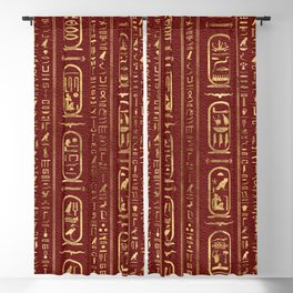 Egyptian hieroglyphs Gold on Red Leather Blackout Curtain