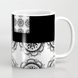 Black and White Rounded Mandala Patch Textile Coffee Mug