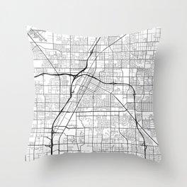 Las Vegas Map, USA - Black and White Throw Pillow
