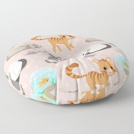 Cute Cat and Fish Pattern – Light Pink Polka Dots Floor Pillow