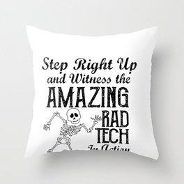 Funny Skeleton Rad Tech Design Throw Pillow