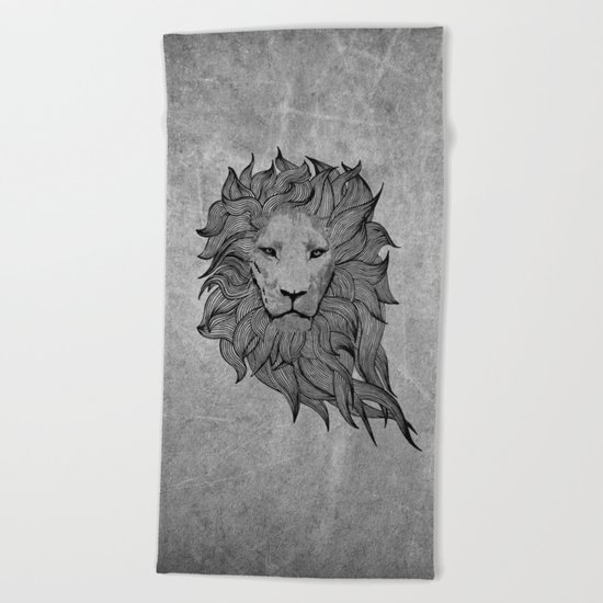 Grey Lion Beach Towel