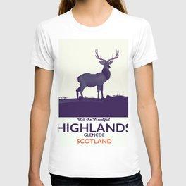 Scottish Highlands, Glencoe travel poster T-shirt