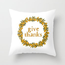Give Thanks Wreath Throw Pillow