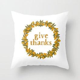 Give Thanks Wreath Throw Pillow