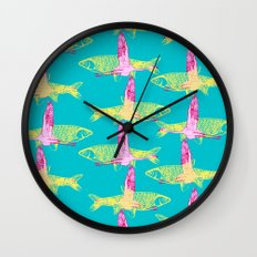 Flamingos and Fish Wall Clock