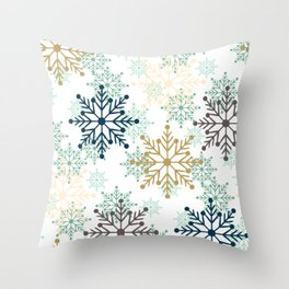 Christmas pattern with snowflakes. Throw Pillow