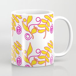 Floral Pattern Golden Leaves Coffee Mug