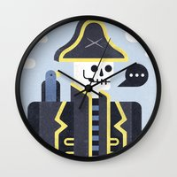 men Wall Clocks featuring Dead Men Tell No Tales by Chase Kunz