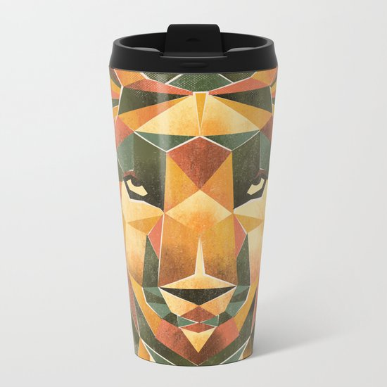 Geometric Wolf Metal Travel Mug