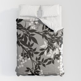 TREE BRANCHES  LEAVES GRAY AND WHITE AND BLACK AND WHITE BERRIES Comforters