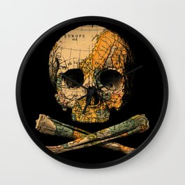 Treasure Map Skull Wanderlust Europe Wall Clock