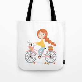 Bicycle Reading with Dachshund Tote Bag
