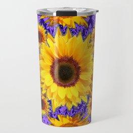 Purple Patterns Yellow Sunflowers Abstract Art Travel Mug