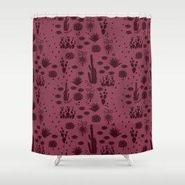 Desert Hike in Plum Shower Curtain