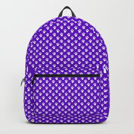Tiny Paw Prints Pattern Deep Purple and White Backpack